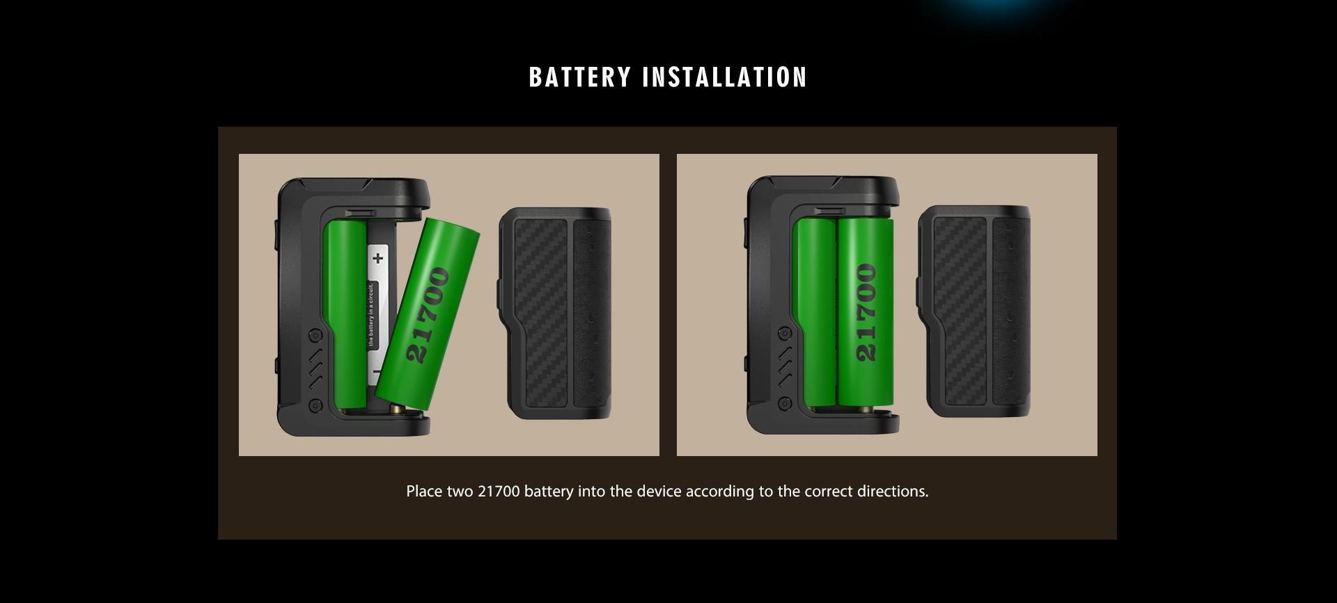 Instalación de la bateríade Vandy Vape Gaur 21 Mod: